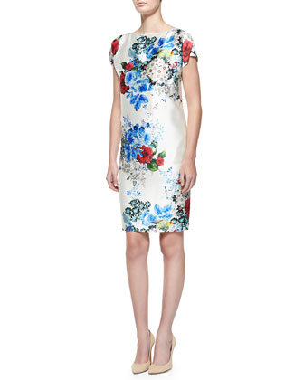 Enchanted Floral Print Mikado Dress, Cream