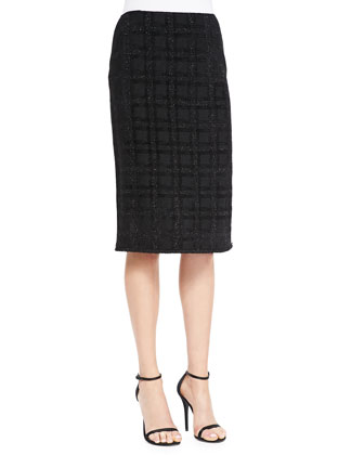 Tonal Velvet Plaid Eyelash Knit Skirt