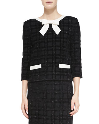 Tonal Velvet Plaid Eyelash Knit Jacket