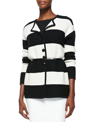 Stripe Honeycomb Knit Artisan Cardigan, Caviar/Cream
