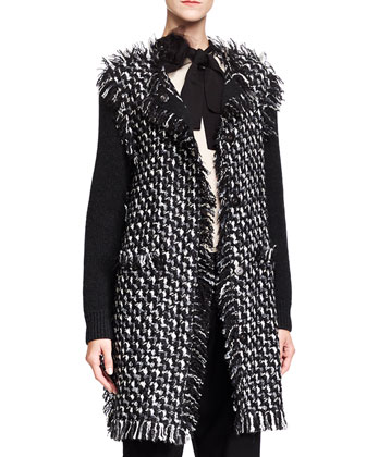 Long Knit & Tweed Cardigan, Black/White
