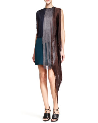 Sleeveless Fringe Dress, Blue/Multi