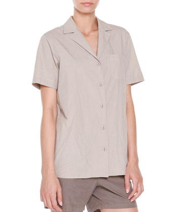 Short-Sleeve Button-Down Blouse