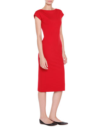 Jersey Cap-Sleeve Fitted Dress