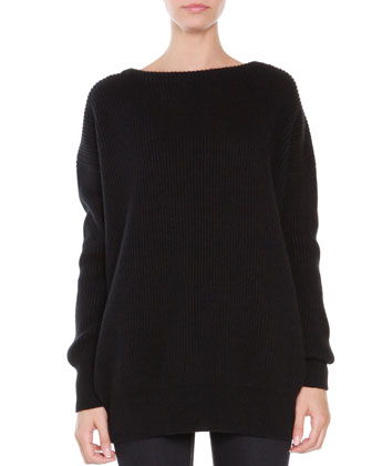 Cashmere Ribbed Tunic, Black