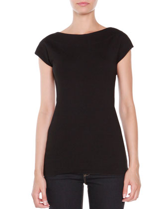 Jersey Cap-Sleeve Top