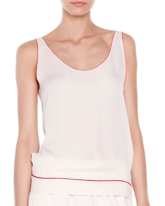 Silk Red-Trim Tank Top