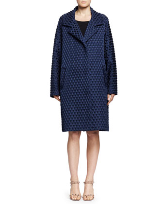 Diamond Waffle-Textured Caban Coat, Navy