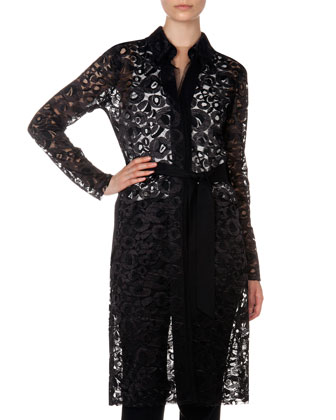 Sheer Lace Jacket, V Illusion Insert Blouse and Flat Front Trousers