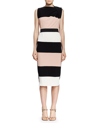 Wide-Striped Draped-Shoulder Dress, Black/Nude