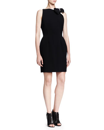 Sleeveless Bicolor Bow-Neck Dress, Black