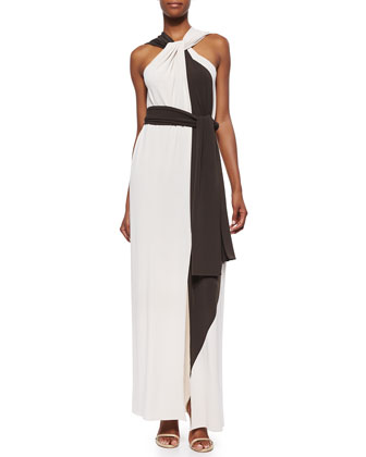 Bicolor Twisted Draped Dress