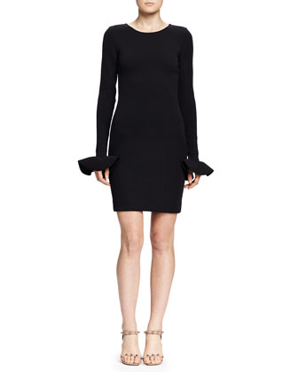 Little Black Dress with Cuffed Long Sleeves