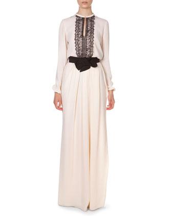 Long Pleated Bow-Waist Skirt