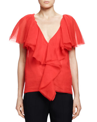 Cascade-Ruffle Top, Poppy Red