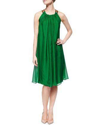 Jeweled-Neck Chiffon Trapeze Dress, Green
