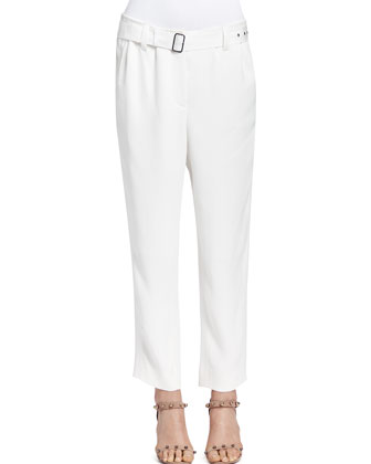 Self-Belted Ankle Pants, Ecru