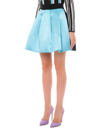 Bicolor Pleated A-Line Skirt