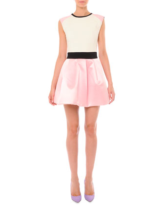 Sleeveless Colorblock Pouf-Skirt Dress
