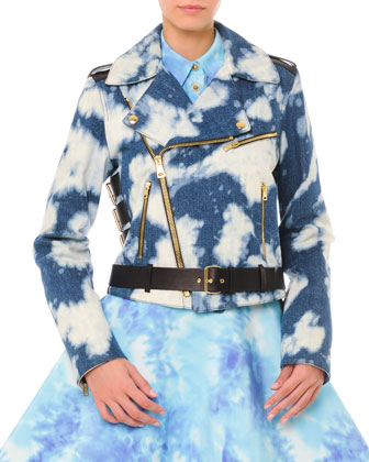 Bleached Cloud-Print Moto Jacket, Short-Sleeve Tie Dye Blouse & Tie Dye ...