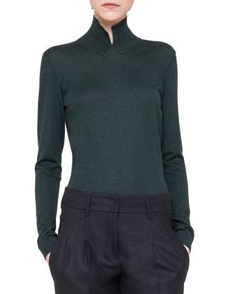 Pullover Sweater w/ Slit Mock-Neck