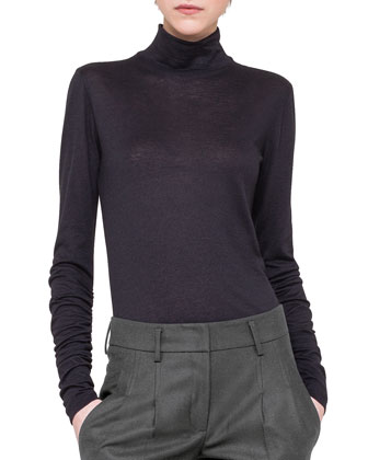 Cashmere-Blend Turtleneck W/ Ruched Sleeves