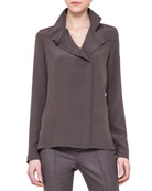 Collared Silk Crepe Blouse, Gray