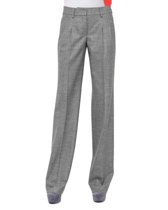 Miranda Wide-Leg Flannel Pants, Mars