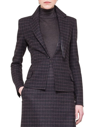 Wool Detachable-Lapel Plaid Jacket