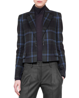 Plaid Jacket w/ Detachable Zip Lapels