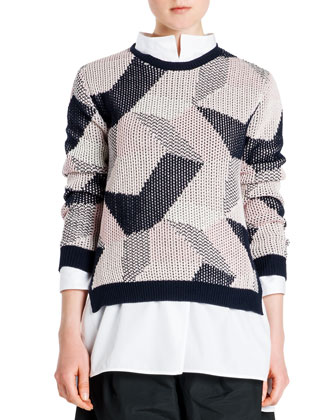 Abstract Intarsia Knit Sweater