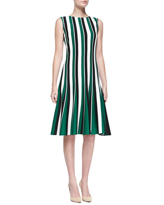 Striped Milano Knit Dress, Caviar/Multi