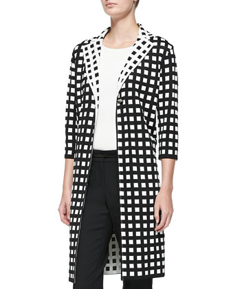 Tubular Box Knit 3/4-Sleeve Check Jacket, Rib Knit Bateau Neck Shell, ...
