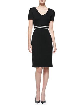 Mod Pique Knit V-Neck Dress