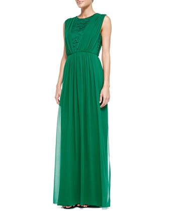 Silk Chiffon Gown with Rosette Lace, Tourmaline