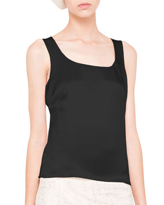 Scoop-Neck Silk Satin Tank, Black