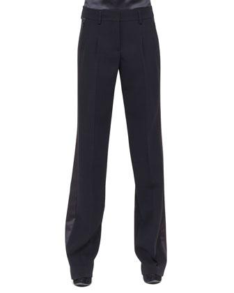 Miranda Wide-Leg Tuxedo Pants, Black
