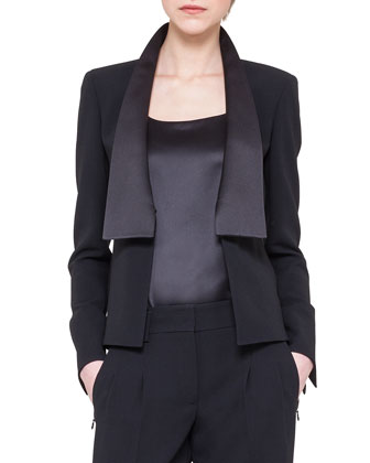 Satin Shawl Collar Jacket, Black
