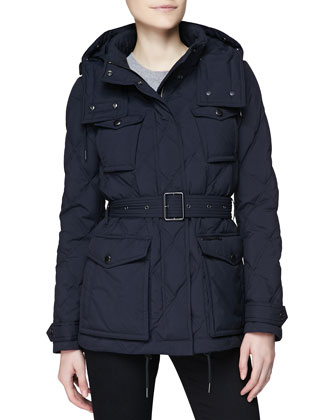 Hooded Diamond-Quilted Jacket