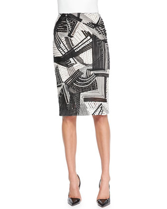 Abstract Embroidered Pencil Skirt