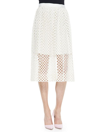 Pearl-Beaded Short-Sleeve Sweater & Net Lace Midi-Length Skirt
