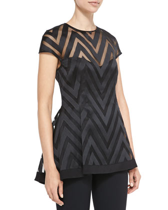 Cap-Sleeve Sheer Zigzag Blouse