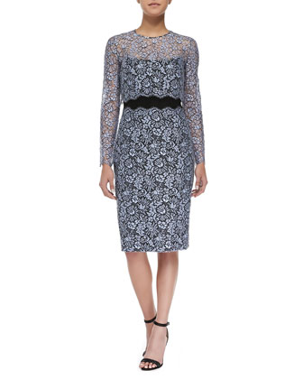 Strapless Lace Sheath Dress with Detachable Long-Sleeve Top