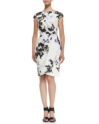 Inkblot-Print Cap-Sleeve Sheath Dress