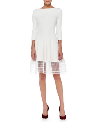 3/4-Sleeve Dress W/ Railroad Lace Hem, White