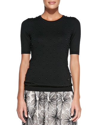 Half-Sleeve Sweater W/ Pearl Front & Full Floral Lace Skirt
