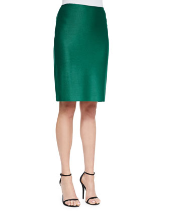 Twill Knit Peplum Jacket, Liquid Satin Shell & Twill Knit Pencil Skirt ...