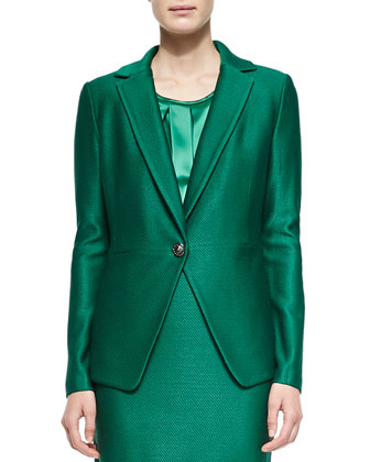 Twill Knit Peplum Jacket, Tourmaline