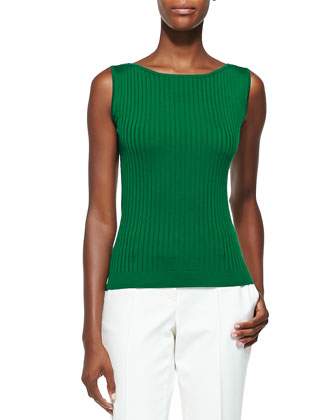 Rib Knit Bateau-Neck Shell, Tourmaline