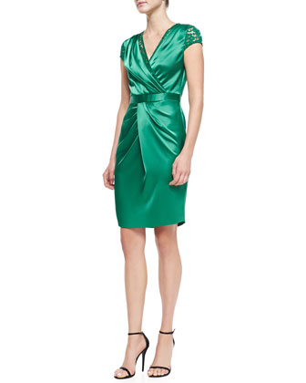 Liquid Satin Faux-Wrap Dress, Tourmaline